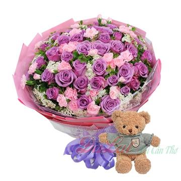 Gấu và hoa hồng